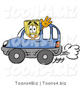 Illustration of a Cartoon Broom Mascot Driving a Blue Car and Waving by Toons4Biz
