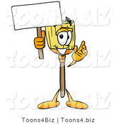 Illustration of a Cartoon Broom Mascot Holding a Blank Sign by Toons4Biz