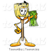 Illustration of a Cartoon Broom Mascot Holding a Dollar Bill by Toons4Biz