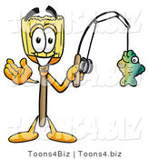 Illustration of a Cartoon Broom Mascot Holding a Fish on a Fishing Pole by Toons4Biz