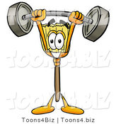 Illustration of a Cartoon Broom Mascot Holding a Heavy Barbell Above His Head by Toons4Biz