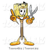 Illustration of a Cartoon Broom Mascot Holding a Pair of Scissors by Toons4Biz