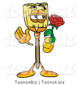 Illustration of a Cartoon Broom Mascot Holding a Red Rose on Valentines Day by Toons4Biz