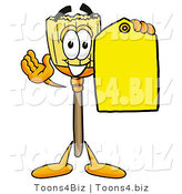 Illustration of a Cartoon Broom Mascot Holding a Yellow Sales Price Tag by Toons4Biz
