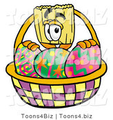 Illustration of a Cartoon Broom Mascot in an Easter Basket Full of Decorated Easter Eggs by Toons4Biz