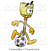 Illustration of a Cartoon Broom Mascot Kicking a Soccer Ball by Toons4Biz