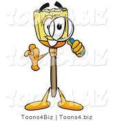 Illustration of a Cartoon Broom Mascot Looking Through a Magnifying Glass by Toons4Biz