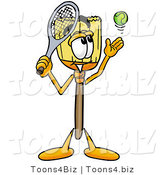 Illustration of a Cartoon Broom Mascot Preparing to Hit a Tennis Ball by Toons4Biz