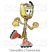 Illustration of a Cartoon Broom Mascot Roller Blading on Inline Skates by Toons4Biz