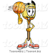 Illustration of a Cartoon Broom Mascot Spinning a Basketball on His Finger by Toons4Biz