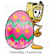 Illustration of a Cartoon Broom Mascot Standing Beside an Easter Egg by Toons4Biz