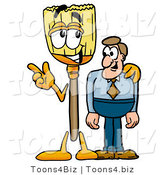 Illustration of a Cartoon Broom Mascot Talking to a Business Man by Toons4Biz