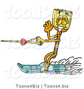 Illustration of a Cartoon Broom Mascot Waving While Water Skiing by Toons4Biz