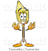 Illustration of a Cartoon Broom Mascot Wearing a Birthday Party Hat by Toons4Biz