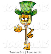 Illustration of a Cartoon Broom Mascot Wearing a Saint Patricks Day Hat with a Clover on It by Toons4Biz