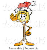 Illustration of a Cartoon Broom Mascot Wearing a Santa Hat and Waving by Toons4Biz