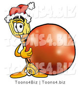 Illustration of a Cartoon Broom Mascot Wearing a Santa Hat, Standing with a Christmas Bauble by Toons4Biz