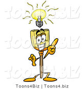 Illustration of a Cartoon Broom Mascot with a Bright Idea by Toons4Biz