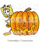 Illustration of a Cartoon Broom Mascot with a Carved Halloween Pumpkin by Toons4Biz