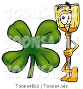 Illustration of a Cartoon Broom Mascot with a Green Four Leaf Clover on St Paddy's or St Patricks Day by Toons4Biz