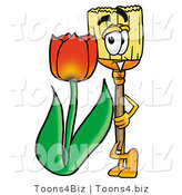 Illustration of a Cartoon Broom Mascot with a Red Tulip Flower in the Spring by Toons4Biz