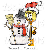 Illustration of a Cartoon Broom Mascot with a Snowman on Christmas by Toons4Biz