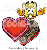 Illustration of a Cartoon Broom Mascot with an Open Box of Valentines Day Chocolate Candies by Toons4Biz