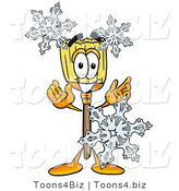 Illustration of a Cartoon Broom Mascot with Three Snowflakes in Winter by Toons4Biz