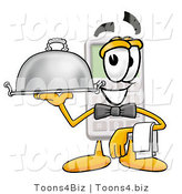 Illustration of a Cartoon Calculator Mascot Dressed As a Waiter and Holding a Serving Platter by Toons4Biz