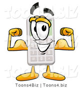 Illustration of a Cartoon Calculator Mascot Flexing His Arm Muscles by Toons4Biz