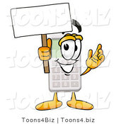 Illustration of a Cartoon Calculator Mascot Holding a Blank Sign by Toons4Biz