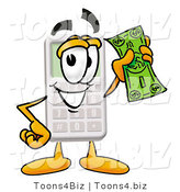 Illustration of a Cartoon Calculator Mascot Holding a Dollar Bill by Toons4Biz