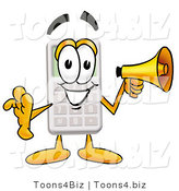 Illustration of a Cartoon Calculator Mascot Holding a Megaphone by Toons4Biz