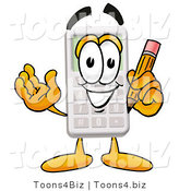Illustration of a Cartoon Calculator Mascot Holding a Pencil by Toons4Biz