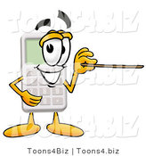 Illustration of a Cartoon Calculator Mascot Holding a Pointer Stick by Toons4Biz