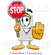 Illustration of a Cartoon Calculator Mascot Holding a Stop Sign by Toons4Biz