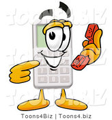 Illustration of a Cartoon Calculator Mascot Holding a Telephone by Toons4Biz