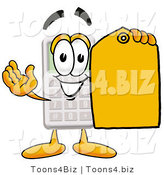 Illustration of a Cartoon Calculator Mascot Holding a Yellow Sales Price Tag by Toons4Biz