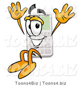 Illustration of a Cartoon Calculator Mascot Jumping by Toons4Biz