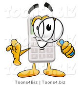 Illustration of a Cartoon Calculator Mascot Looking Through a Magnifying Glass by Toons4Biz