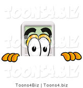 Illustration of a Cartoon Calculator Mascot Peeking over a Surface by Toons4Biz