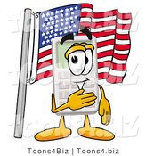 Illustration of a Cartoon Calculator Mascot Pledging Allegiance to an American Flag by Toons4Biz