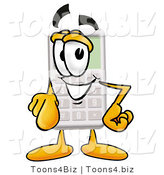 Illustration of a Cartoon Calculator Mascot Pointing at the Viewer by Toons4Biz