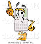 Illustration of a Cartoon Calculator Mascot Pointing Upwards by Toons4Biz