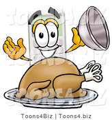Illustration of a Cartoon Calculator Mascot Serving a Thanksgiving Turkey on a Platter by Toons4Biz