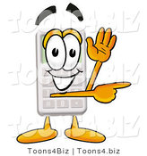 Illustration of a Cartoon Calculator Mascot Waving and Pointing by Toons4Biz