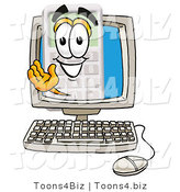 Illustration of a Cartoon Calculator Mascot Waving from Inside a Computer Screen by Toons4Biz