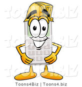 Illustration of a Cartoon Calculator Mascot Wearing a Helmet by Toons4Biz