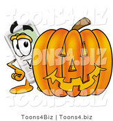 Illustration of a Cartoon Calculator Mascot with a Carved Halloween Pumpkin by Toons4Biz