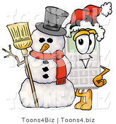 Illustration of a Cartoon Calculator Mascot with a Snowman on Christmas by Toons4Biz